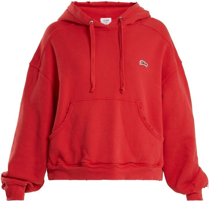 644dbd84ab2a RE DONE ORIGINALS Logo-appliqué distressed cotton hooded sweatshirt