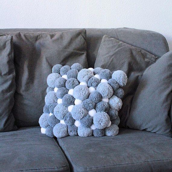 gray pom pom pillow grey pillow cover