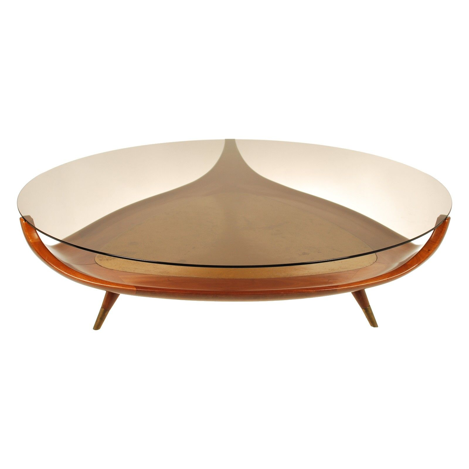 Furniture Round Brown Glass Coffee Table With Curvy