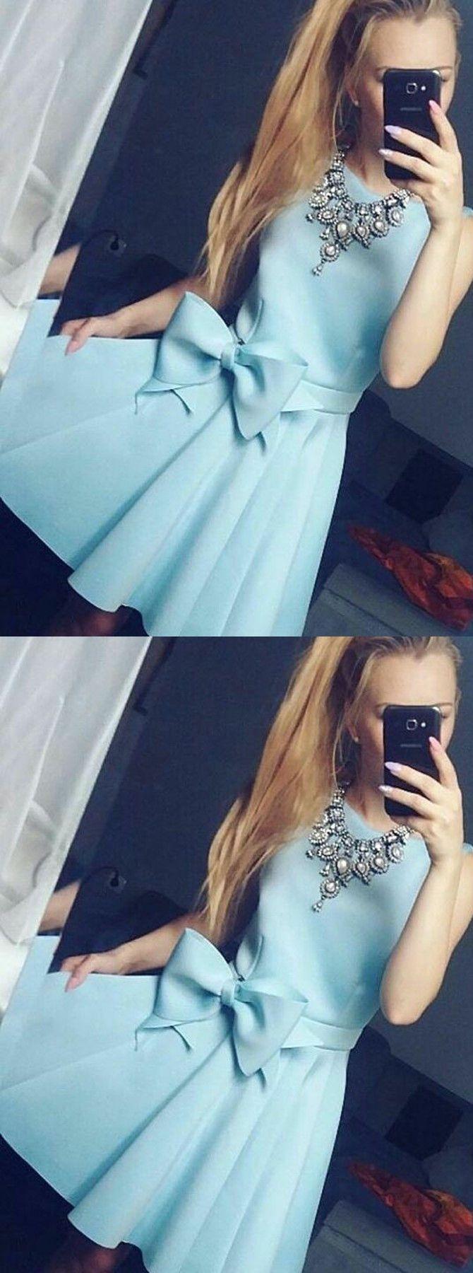 Light sky blue short homecoming dress simple cute short prom dress