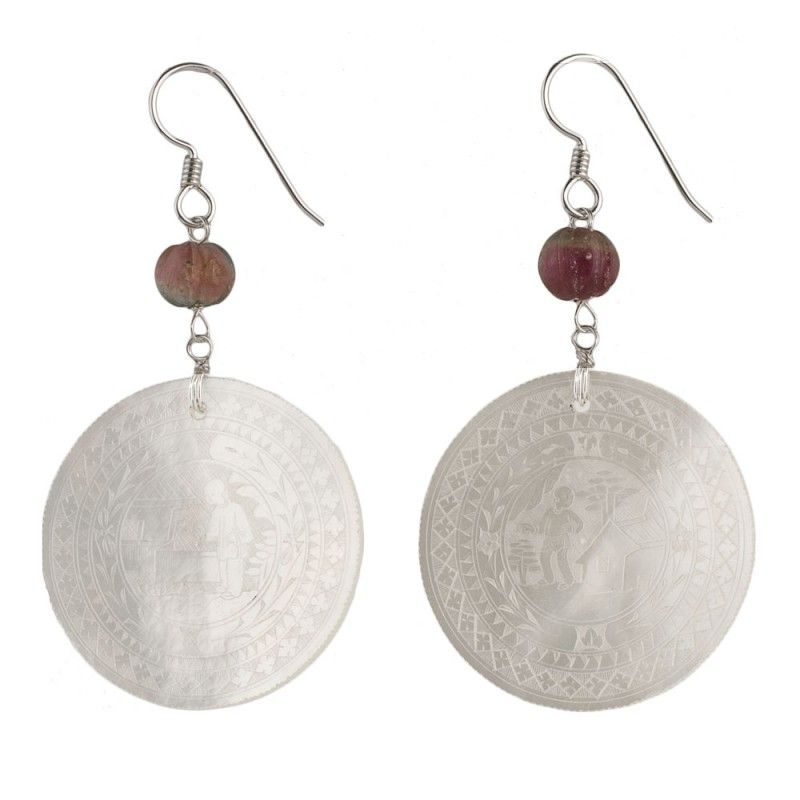 $145.  Antique Chinese mother of pearl gaming counter earrings with watermelon tourmaline and sterling silve