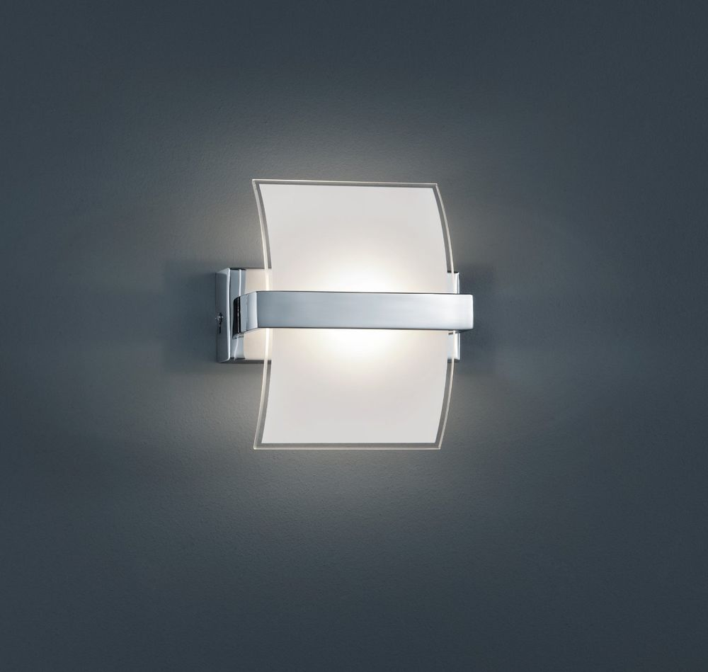 Lamparas De Exterior Led Lampara Pared Aplique Trio Led Cromo Y Cristal Interior Blanco