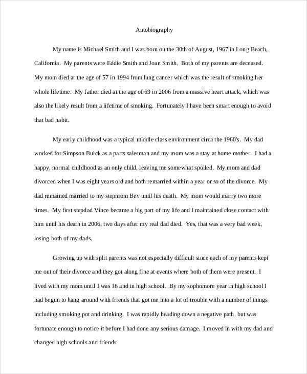 8 Autobiography Example Pdf Doc Writing Template Biography Autobiographical Essay Topics Incident Topic Narrative Idea