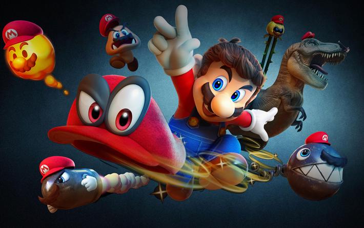 Download Wallpapers 4k Super Mario Odyssey Characters 2017 Games Nintendo Besthqwallpapers Com Super Mario Super Mario Art Mario