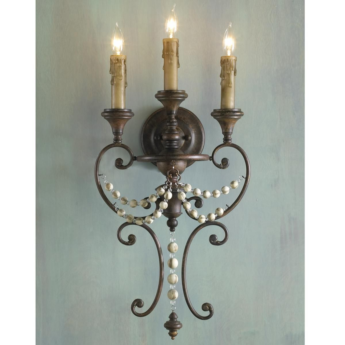 Distressed Wood Bead Sconce 3 Lt Home How To