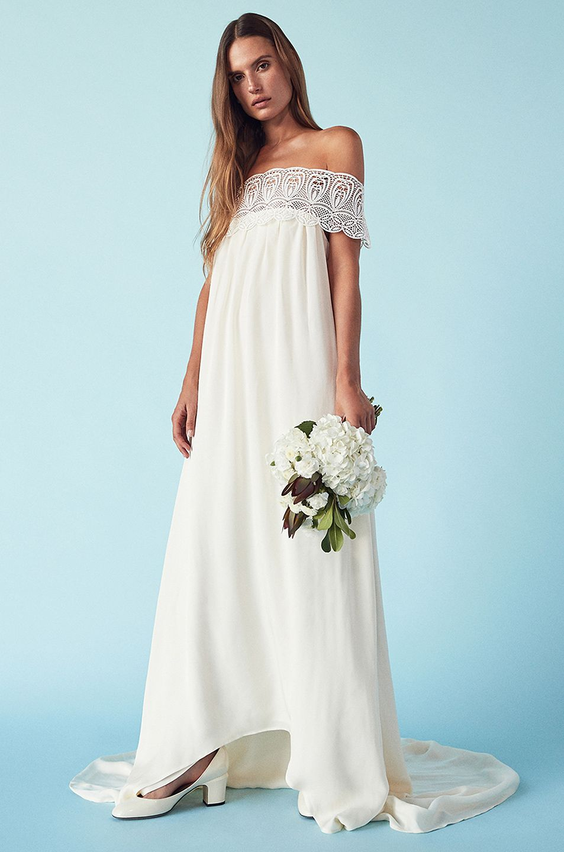 513ebff16161 Image 6 of self-portrait Lace Detail Off Shoulder Wedding Dress in Off White