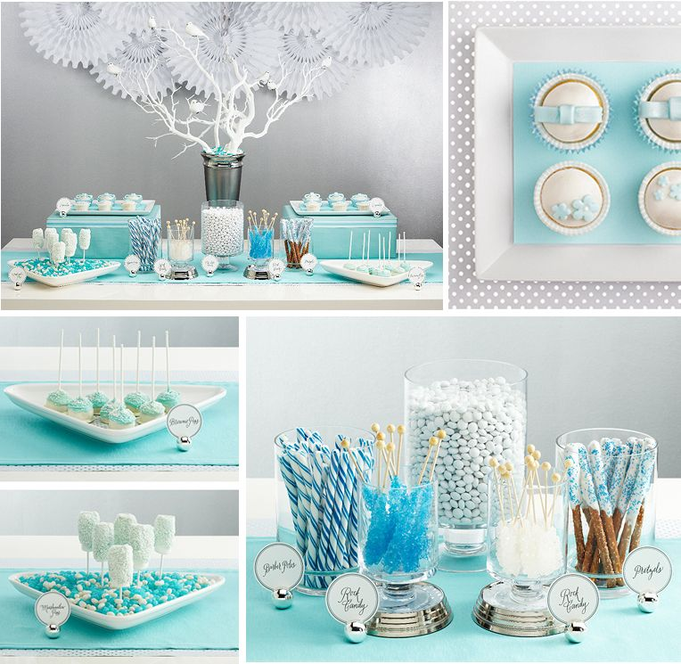 light blue table design by sugar inc knitting wedding desserts rh pinterest com  baby shower blue candy buffet