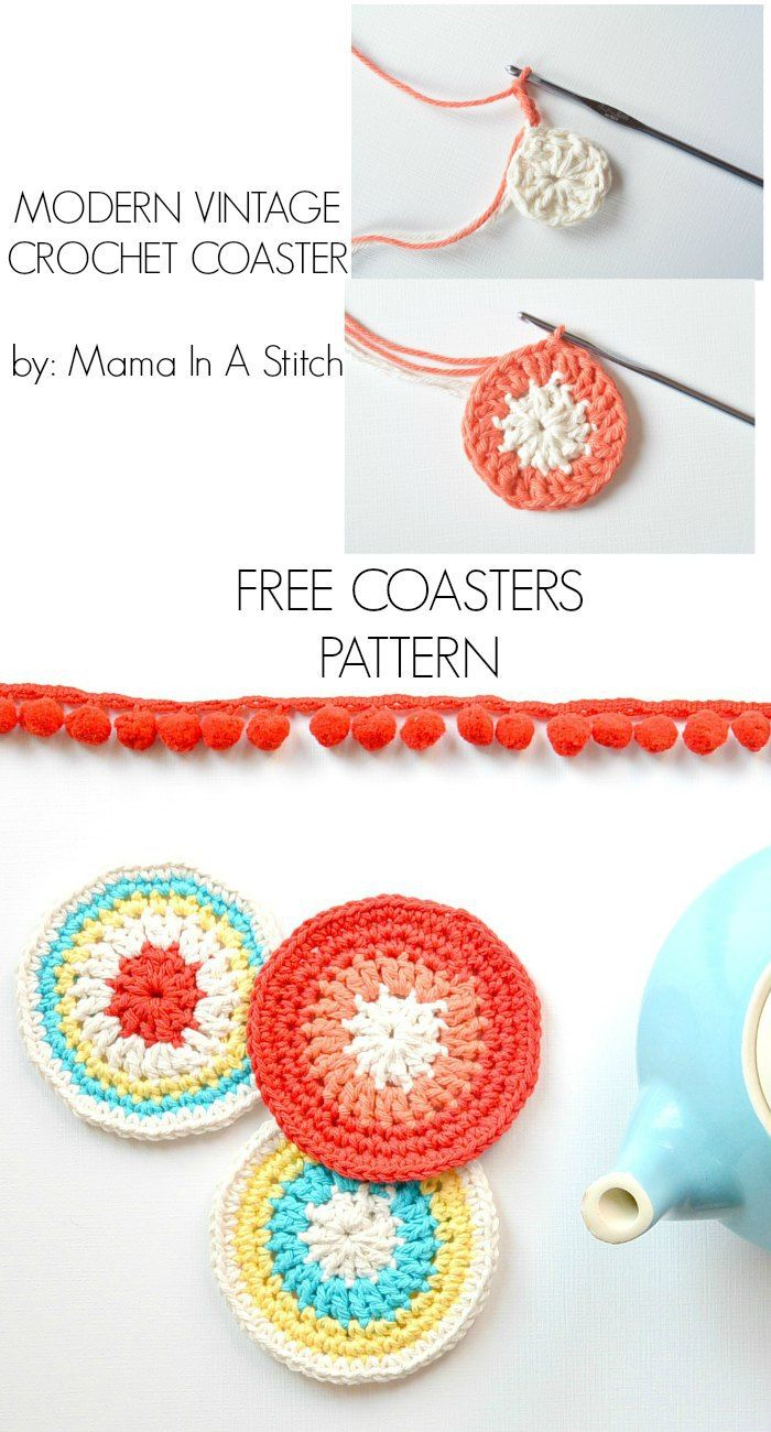 Free Pattern for cheerful round crochet coasters. Pictures show you ...