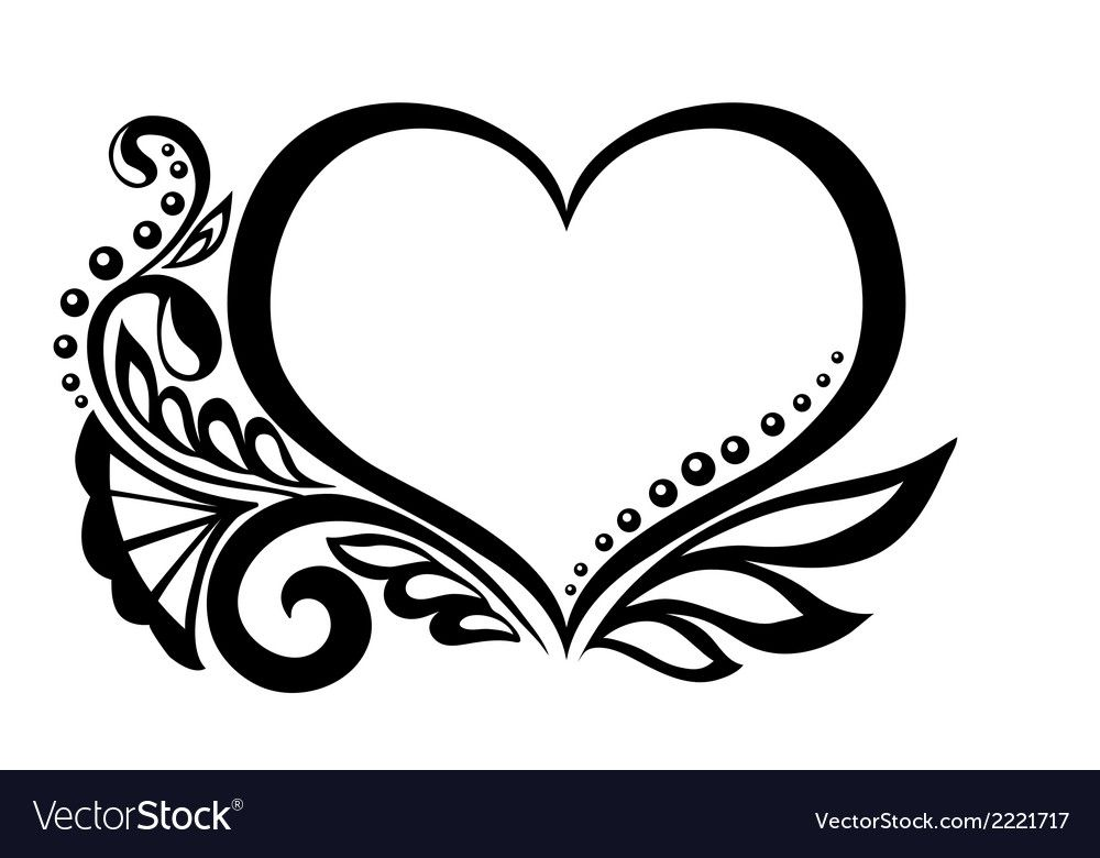 Symbol Of A Heart With Floral Design Royalty Free Vector