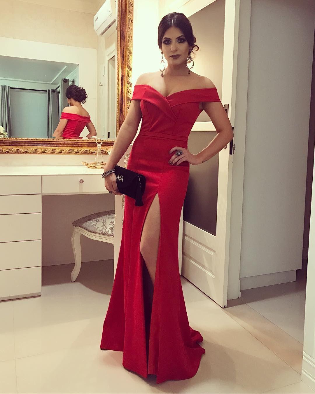 Dress look red longdress vestidolongo fenda vermelho