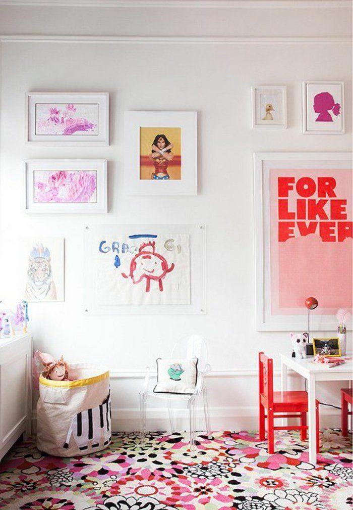 Mädchenzimmer Gestalten kinderzimmer teppich farbig florale elemente mädchenzimmer gestalten