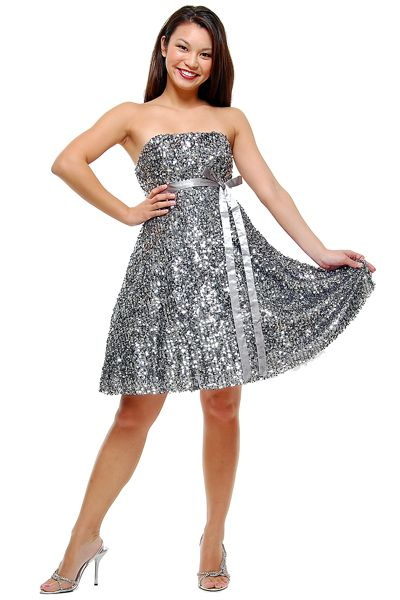 a little glitz... Silver Strapless Sequin Bow Prom Dresses - XS to XL  [Item#12159s-CH1024]  $88.00