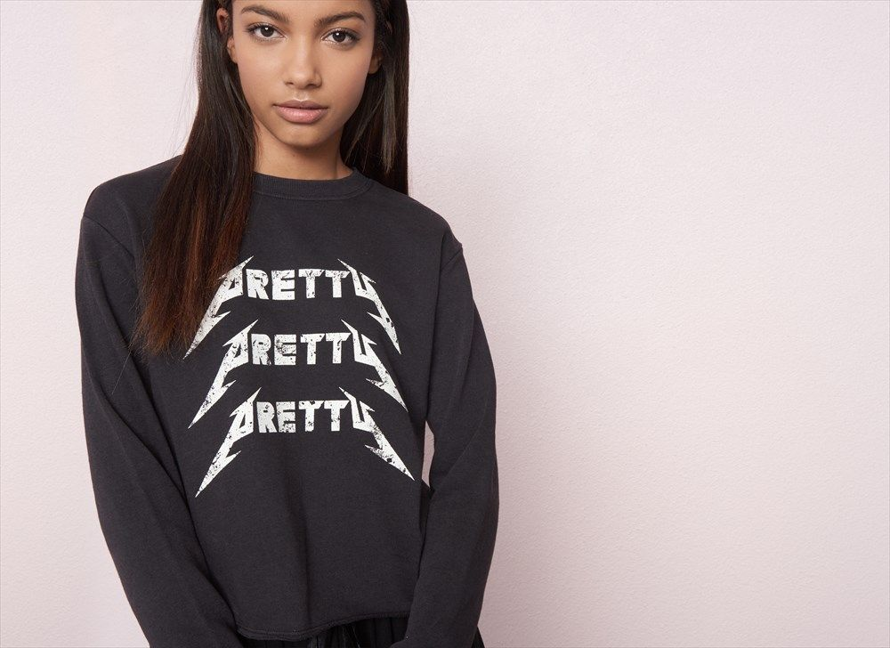 Washed Crop Graphic Sweatshirt