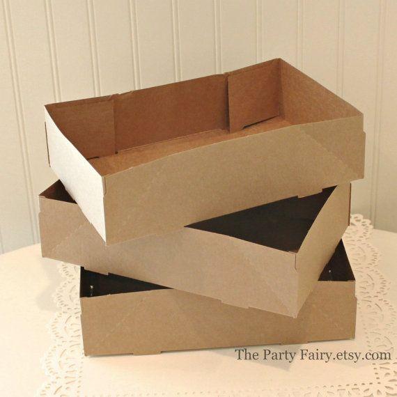 Kraft Food Trays, 10 Brown Kraft Food Carrier Trays, Paper