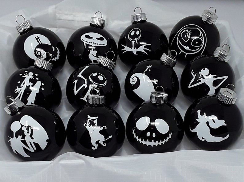 Nigh Before Christmas 2020 Glass Nightmare Before Christmas 12 Glass Ornaments | Etsy in 2020