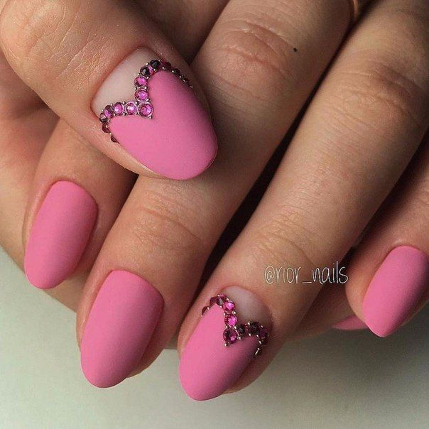 Pink Matte Nail Art With Heart And Jewels For Romantic Simple Moment