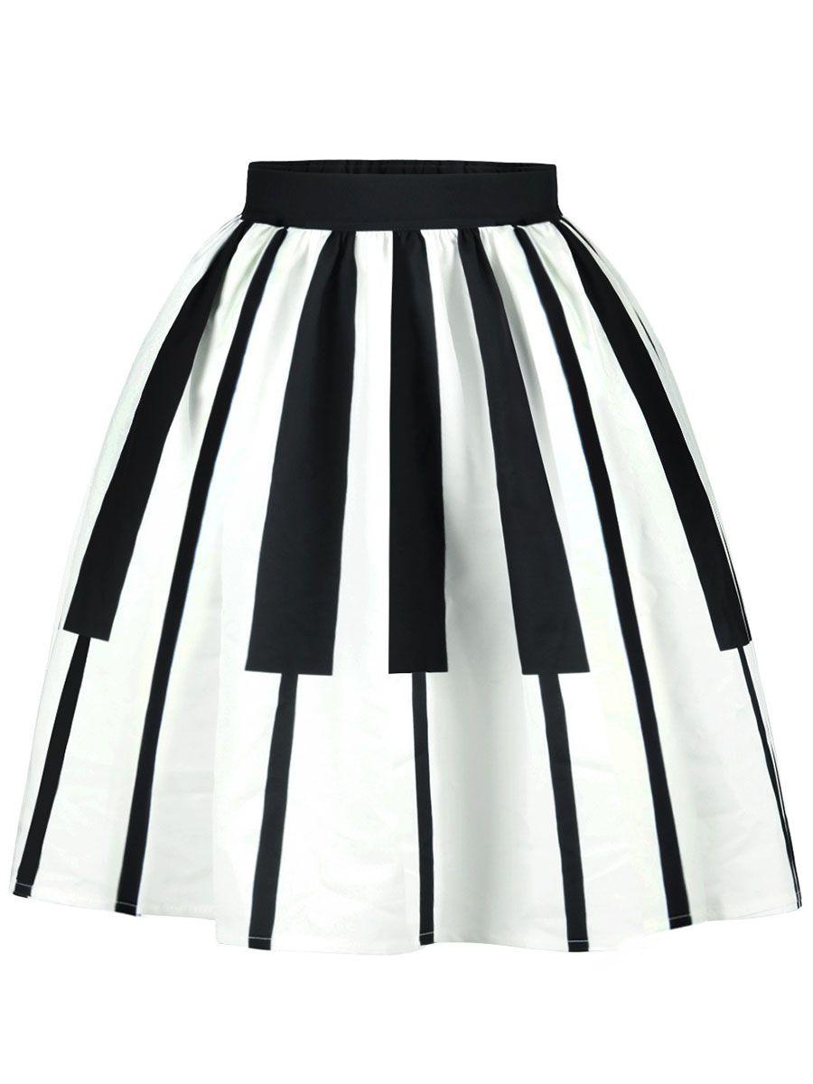 3a91244d7eb Black White Piano Key Flared Midi Skirt