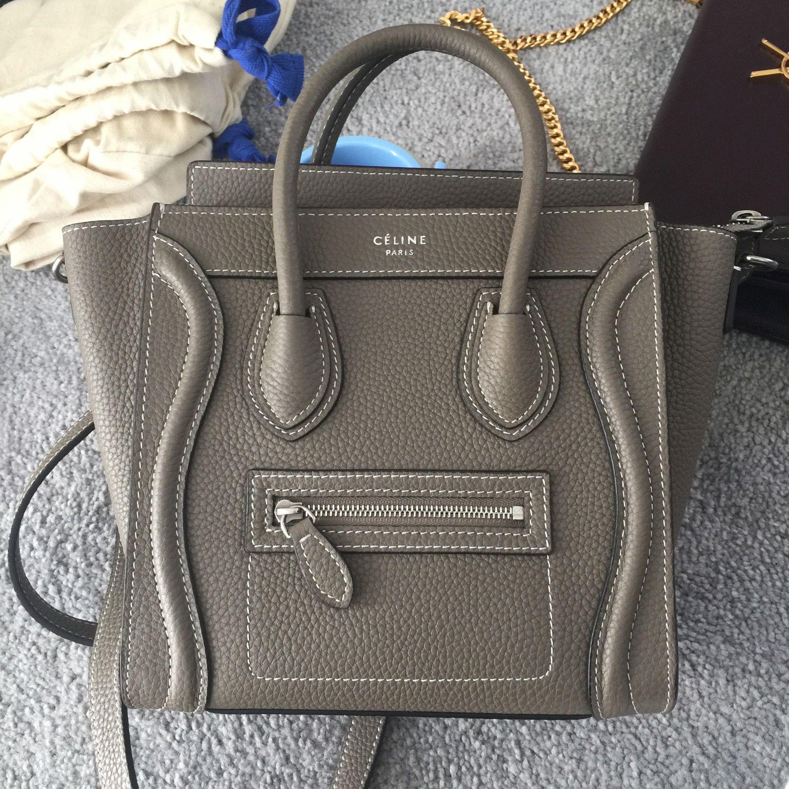 AUTH CELINE NANO LUGGAGE BAG IN DRUMMED CALFSKIN SOURIS gray mini ... 1b87c71de5fc9
