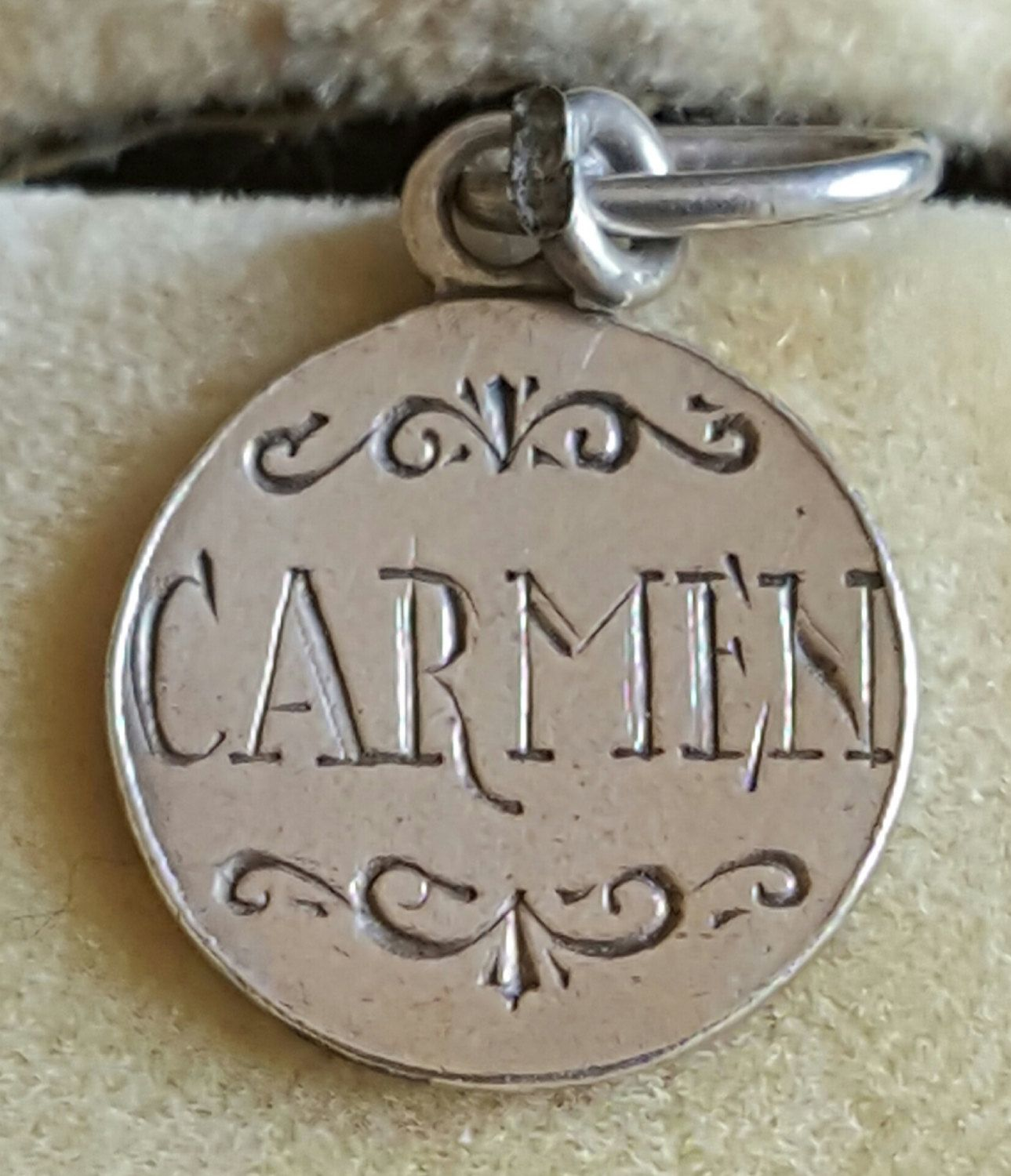 Tiny vintage spanish silver engraved pendant engraved carmen spain tiny vintage spanish silver engraved pendant engraved carmen spain 1950s engraved spanish i love you engraved medal mozeypictures Choice Image
