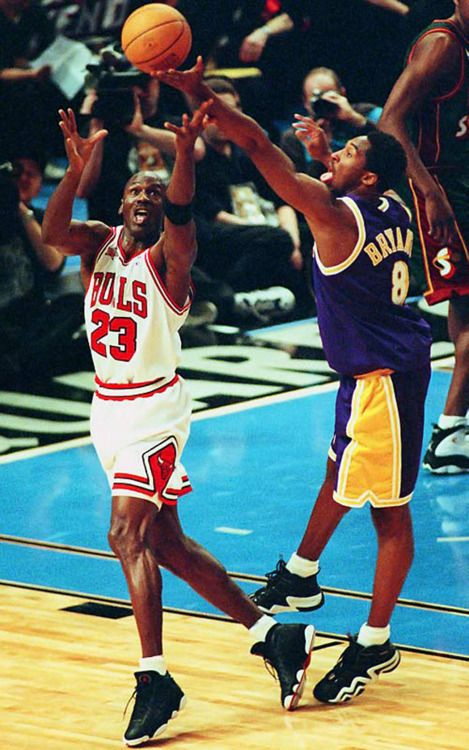 Michael Jordan and the 19 year old Kobe Bryant