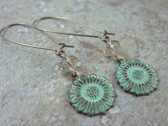 Flower Dangle Earrings by skyejewels on Etsy, $20.00
