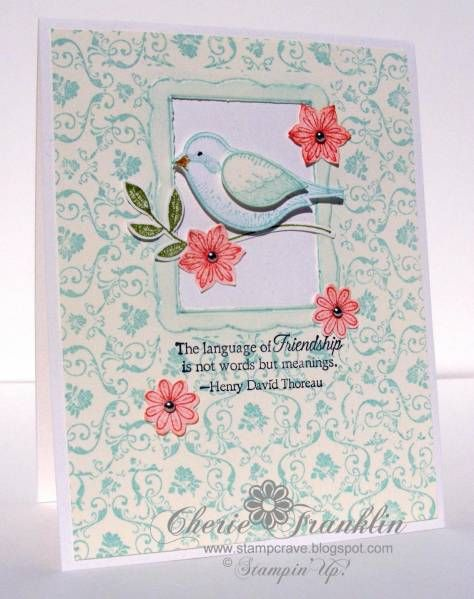 Bird in a Frame using Stampin Up Language of Friendship