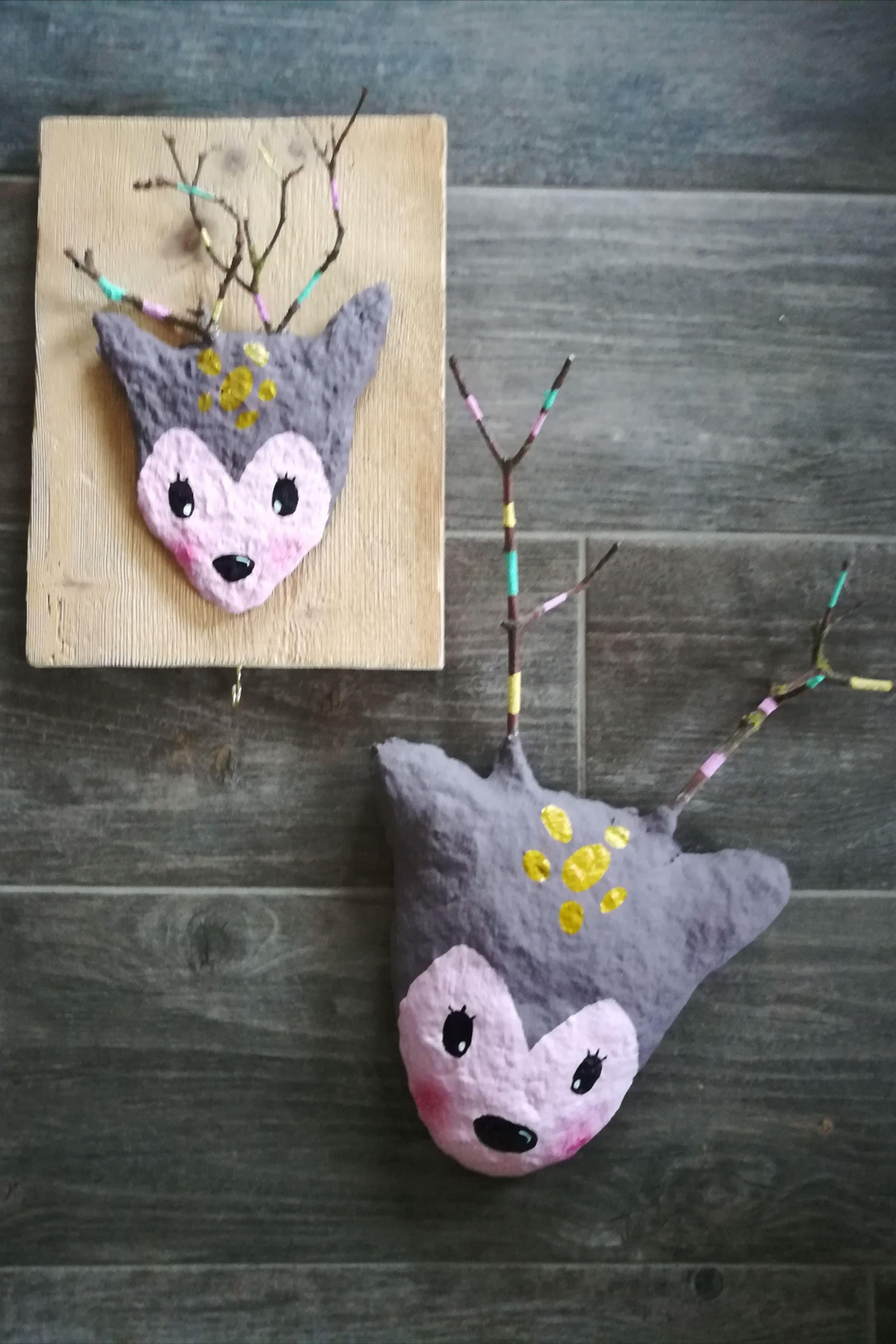 pappmache figur tierkopf fur kinderzimmer deko oder als geschenk tierkopfe baby geschenke kinder geschnitzte wanddeko plüschtier trophäe