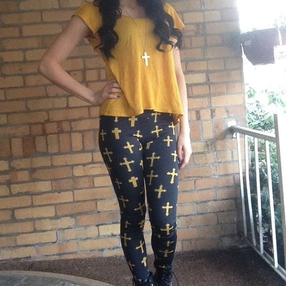 Cross leggings Super comfortable and stylish cross leggings. They are navy blue with different styles of gold crosses all over. Pants Leggings