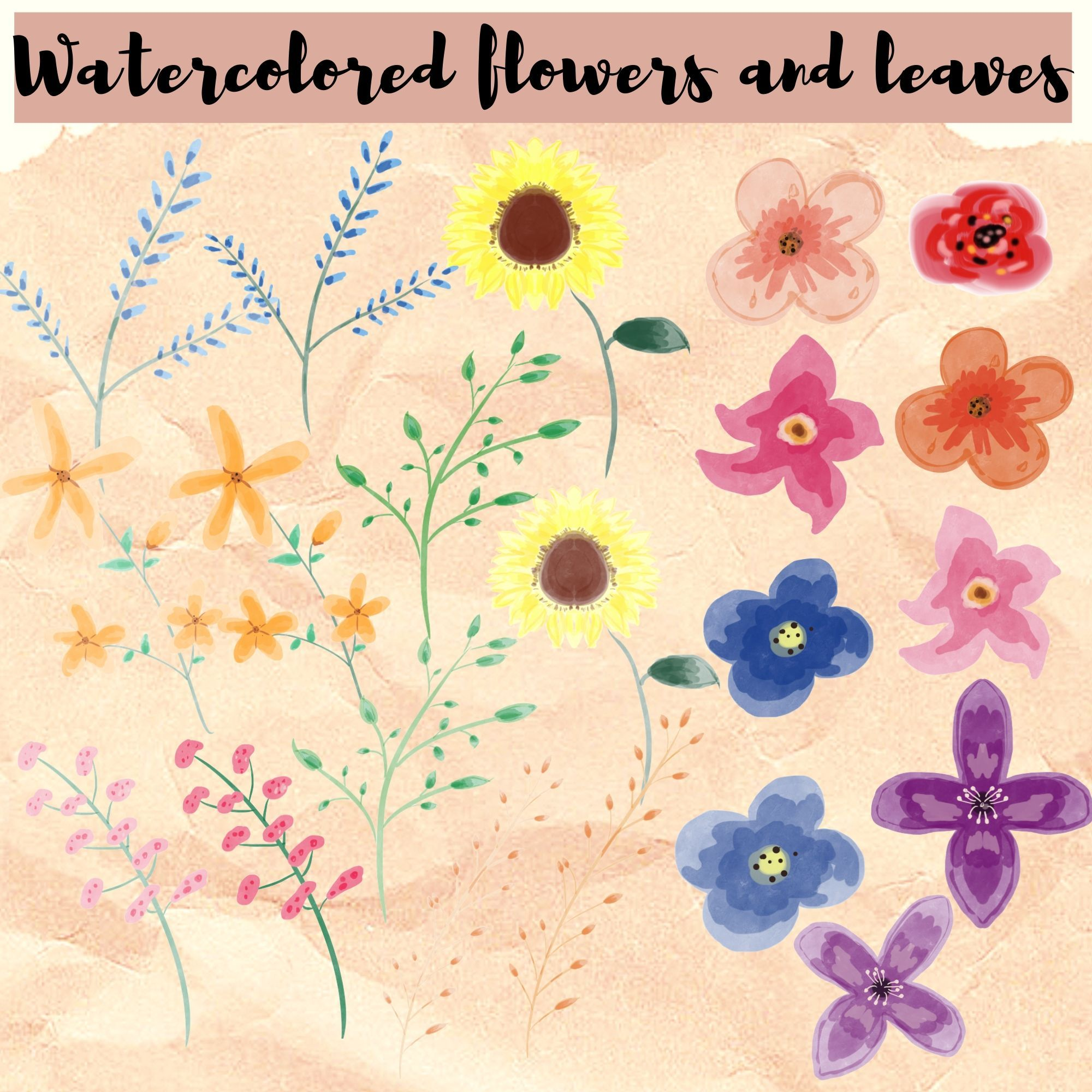 Watercolored Flowers And Leaves In