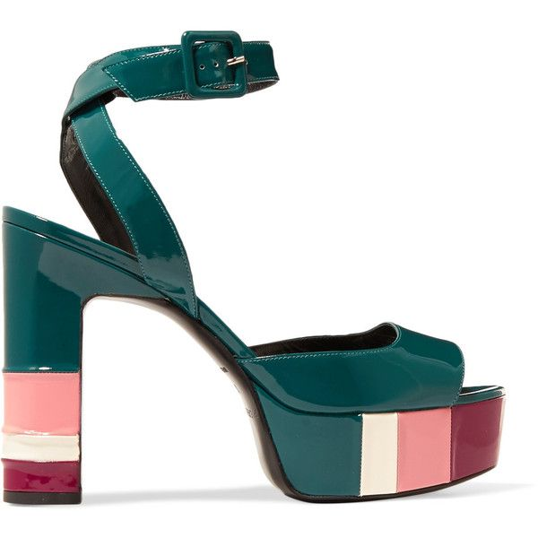 Pierre Hardy Striped patent-leather sandals ($390) ❤ liked on Polyvore  featuring shoes