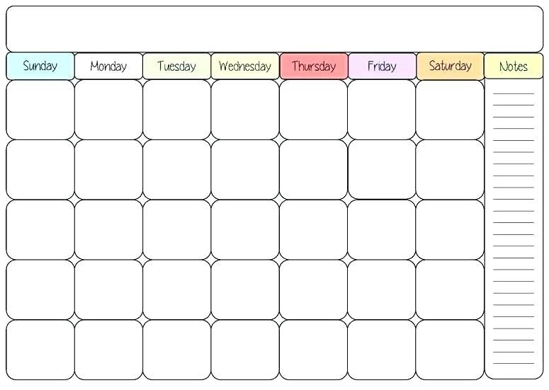 Blank Colorful Calendar Template Weekly Free Monthly Printable