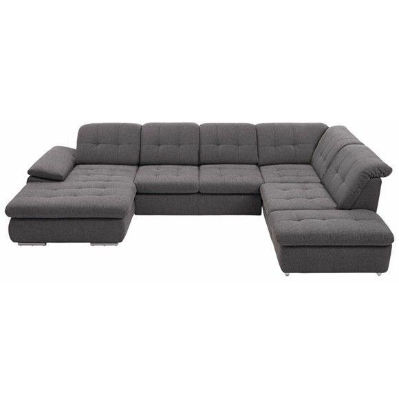 WOHNLANDSCHAFT in Anthrazit, Grau, Schwarz, Weiß Textil - big sofa oder wohnlandschaft