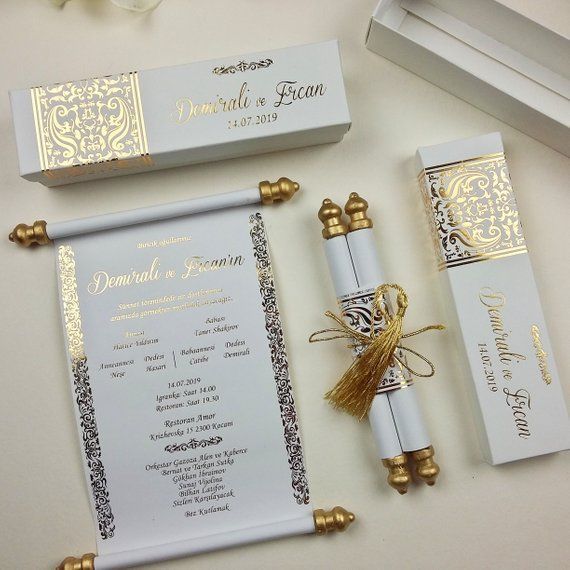 Elegance Handmade Custom Design, Real Gold Foil, Imprinted Scroll Invitation, Boxed Embossed Wedding Invitation, Holographic Foil Print is part of Embossed wedding invitations -  can be changed  ♥ HOW TO PURCHASE ♥ It's easy! The process is as follows  After purchase your order, send me your wording and color choices for the invitation   Proofs will be carefully designed and then send to you within 2 business days  You then look them over and let me know if you need anything adjusted   We spend as much time necessary working with you to perfect your invitations! Nothing is printed until we have your final proof approval   Once we have your approval, I send them off to be printed  Nothing is printed until you give your seal of approval  That's it! When you have approved, we begin production! Please note that colors may vary from computer to computer and printer to printer due to variances in how monitors display colors, wide variety of printing processes, variances in how color looks on different printing materials  I have no control over these types of color variations  Feel free to contact me with any questions!