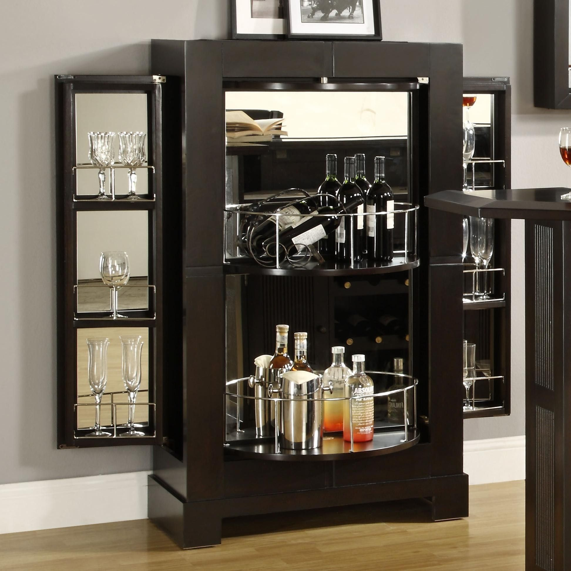 Modern Black Wooden Corner Liquor Cabinet With Curve Bottle Shelves And  Glass Shelves On Right And Left Side, Appealing Corner Bar Cabinet Design  Ideas: ...