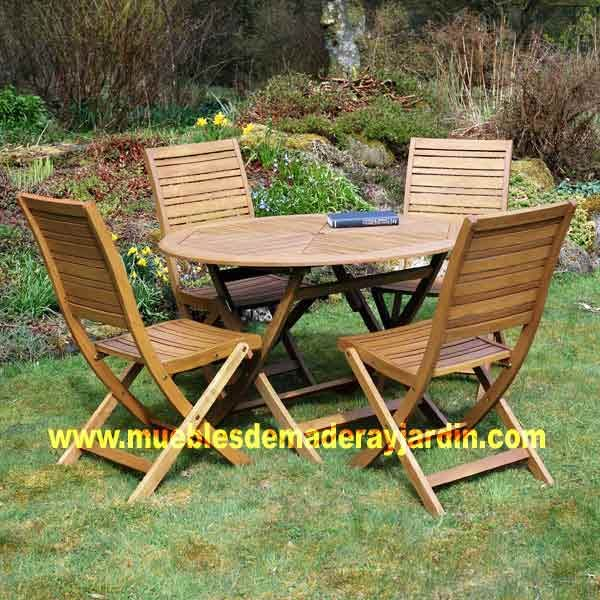 Mesa jardin madera redonda bancas buscar con google for Bancas de madera para jardin