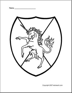 Unicorn shield design Knight Party Ideas Medieval