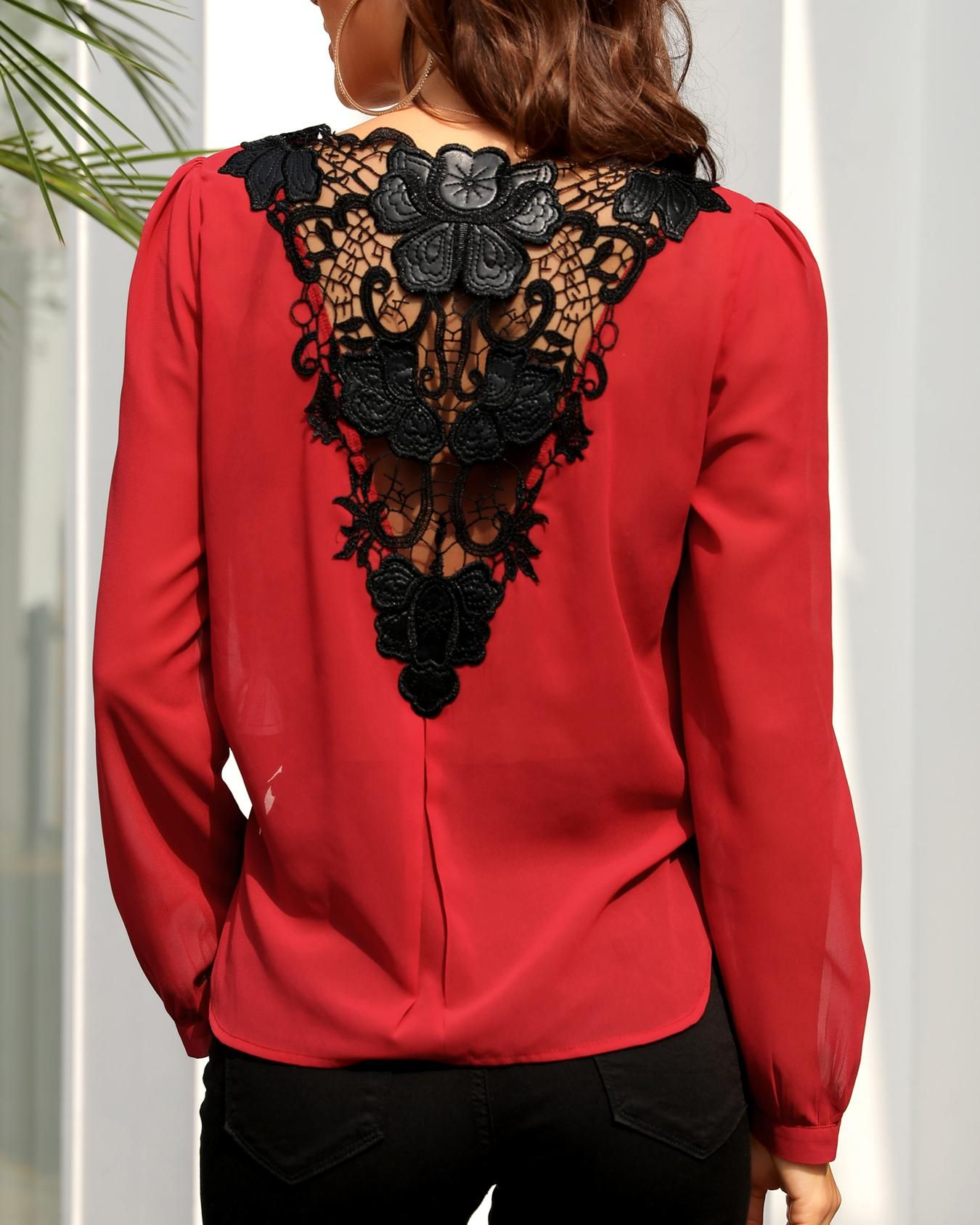 Lace Crochet Back Surplice Front Blouse Fashion Dip Hem Blouse Pattern Fashion