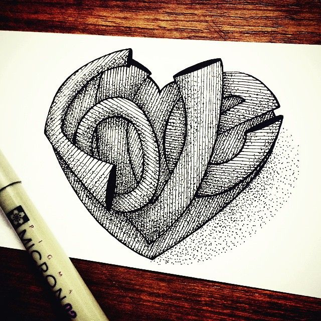 #love #heart #❤️ #stippling #dots #micron #pigment #liner #black #typography #creativework #design #drawing #bouchac