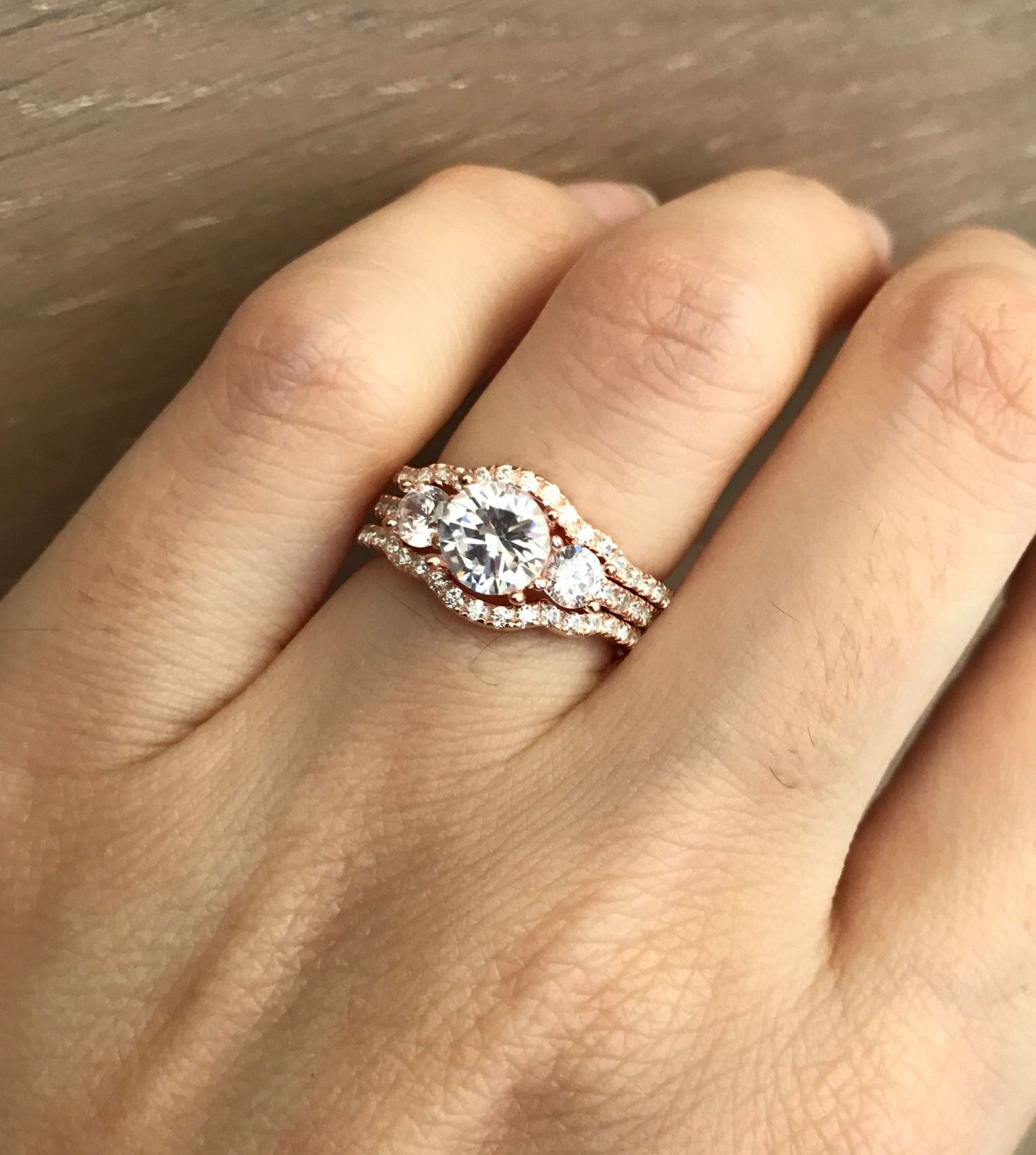 Rose Gold Bridal Set Ring Three Stone Engagement Matching Band Promise