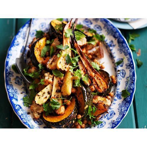 Roast cumin pumpkin and parsnip with hummus dressing recipe | Food To Love