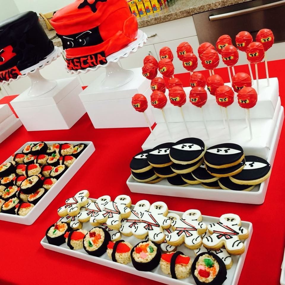 Ninjago themed sweet table with ninja cake pops, sugar cookies and candy sushi @tressweet #candysushi Ninjago themed sweet table with ninja cake pops, sugar cookies and candy sushi @tressweet #candysushi