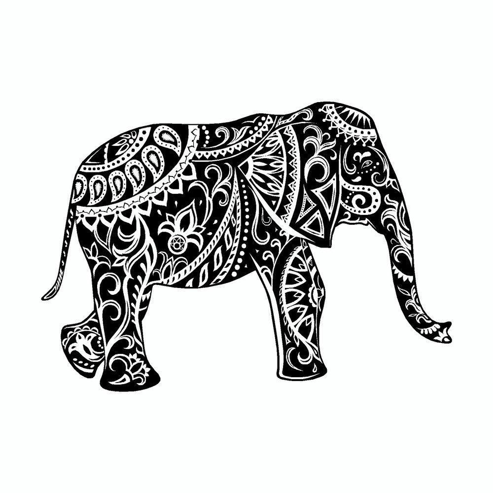 Minimalist Elephant Drawing: Elephant Mandala Art Tribal Vinyl Car Sticker