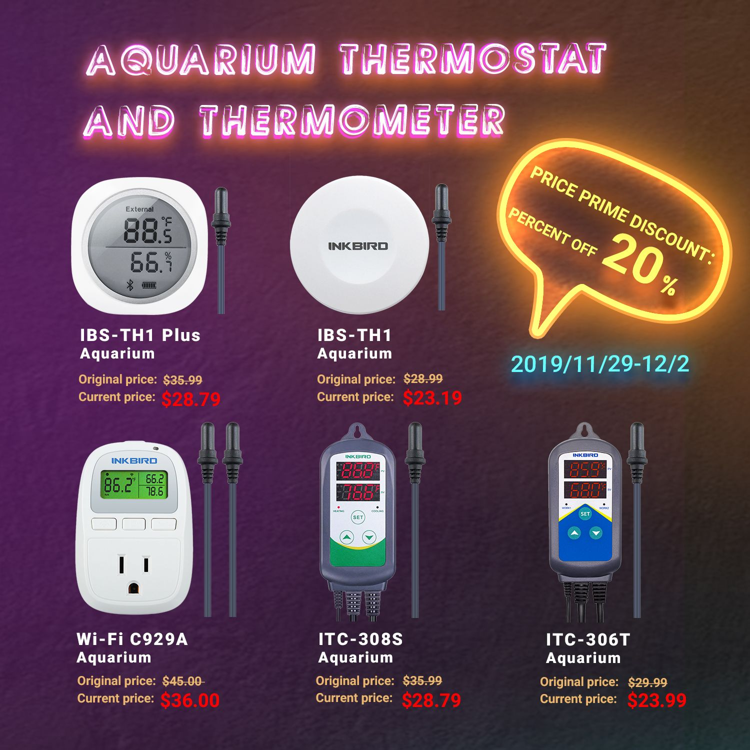 Inkbird Aquarium Thermostat And Thermomenter Thermostat Thermometer Temperature Control
