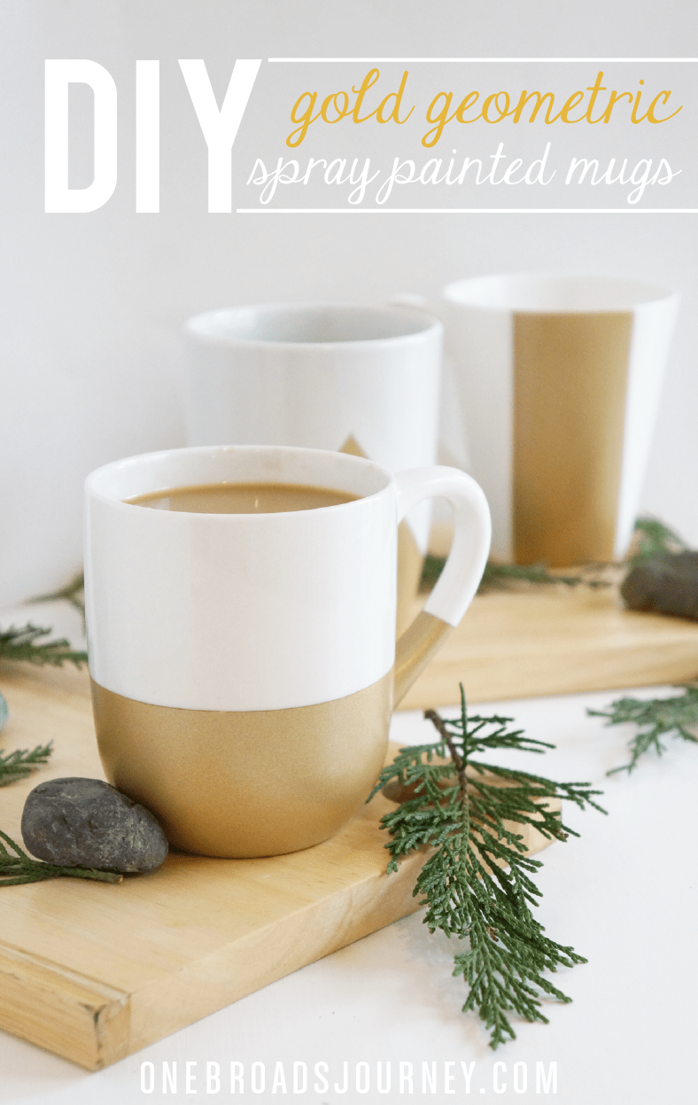 Diy Gold Geometric Spray Painted Mugs Cute Coffee Bar Ideas