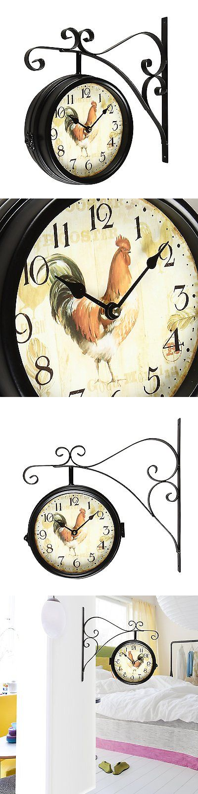 wall clocks adeco doublesided decorative rooster round iron wall