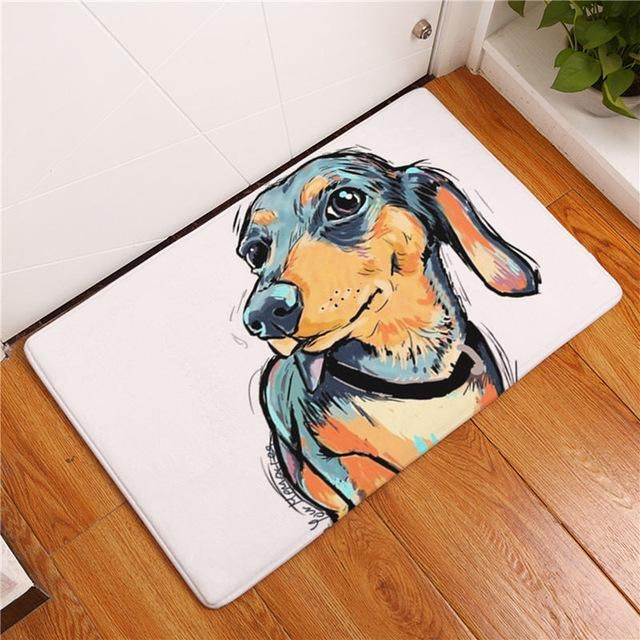 Beddingoutlet Dog Print Carpet Anti Slip Floor Mat Animal Painting Bathroom Kitchen Area Rugs Door Mat 40x60 50x80cm Dog Flooring Painting Carpet Dog Door Mat