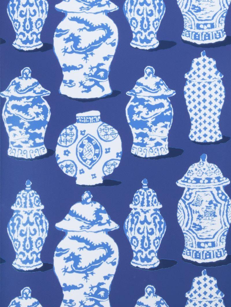 Fantastic global cobalt blue designer wallcovering by