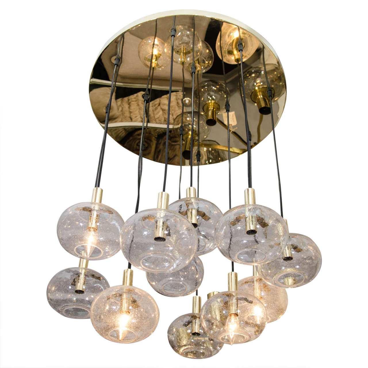Custom Twelve Globe Chandelier With Brass Canopy 1