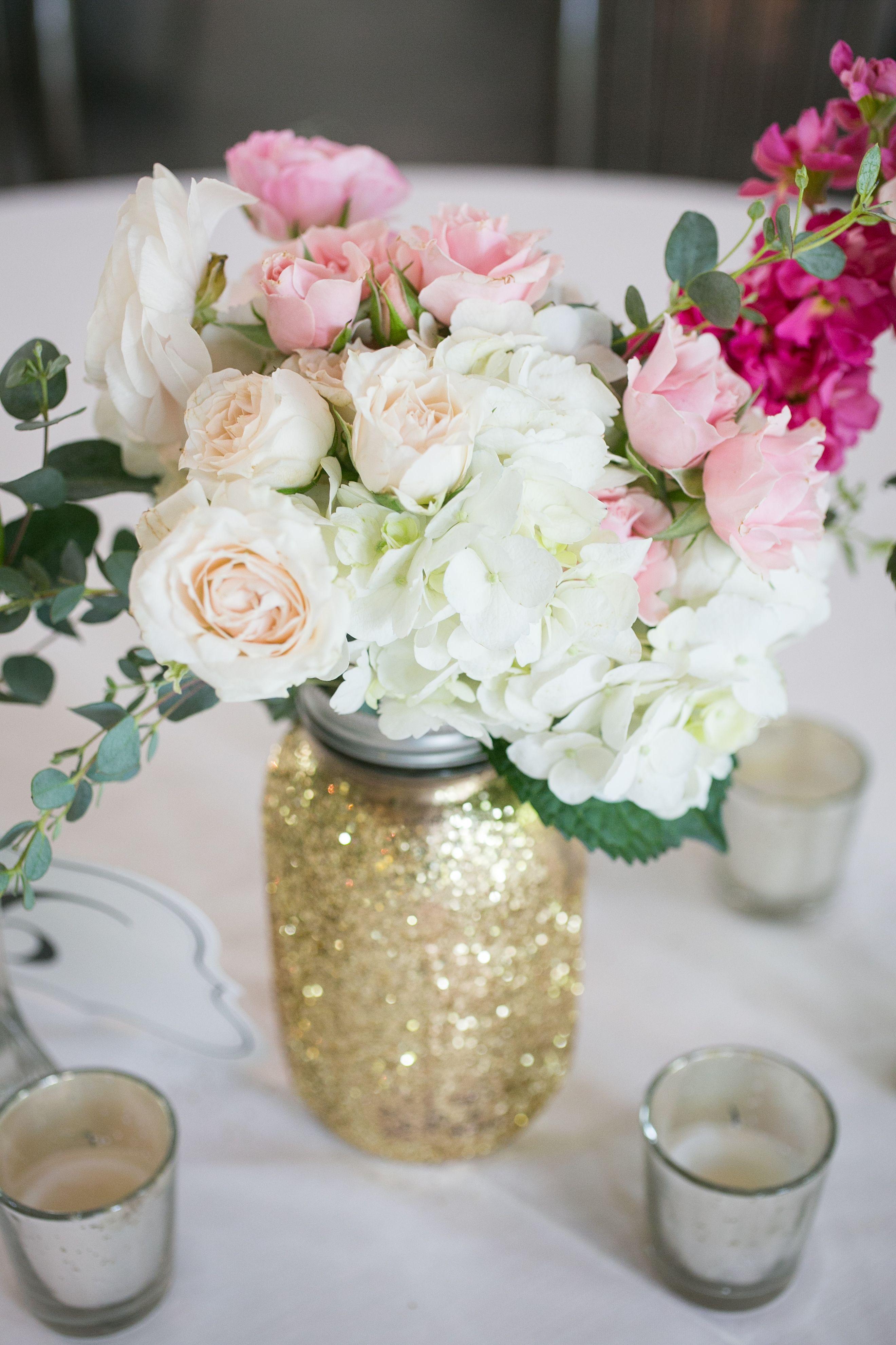 Glittery Gold Mason Jar Centerpiece | Anniversary | Pinterest | Gold ...