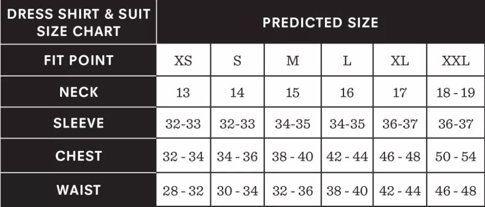 Suit Size Chart Suit Size Calculator The Black Tux Blog Size Chart Chart Black Tux